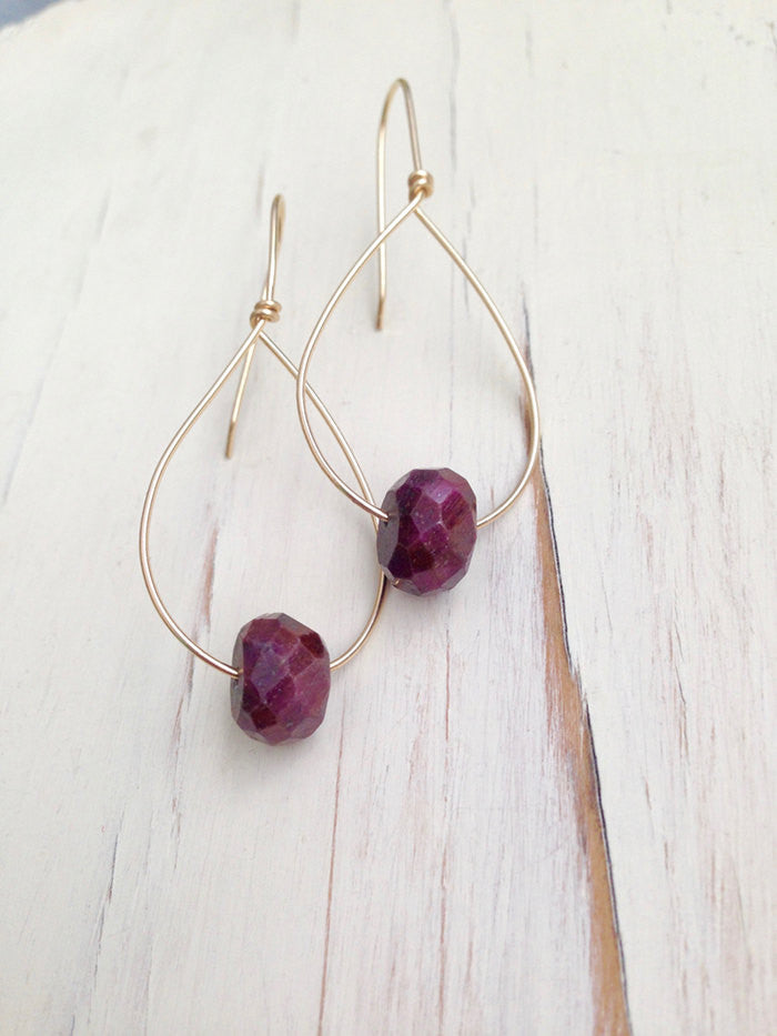 Ruby Faceted Slice Earrings