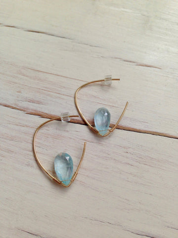 Aquamarine Teardrop Hoops