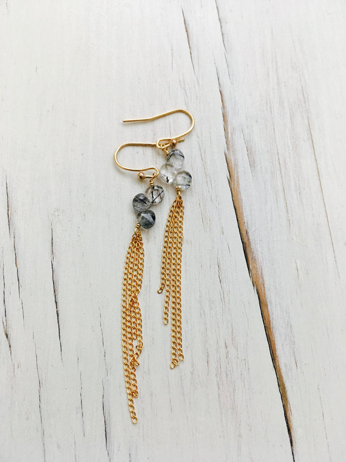 Black Rutilated Quartz Dangle Chain Earrings