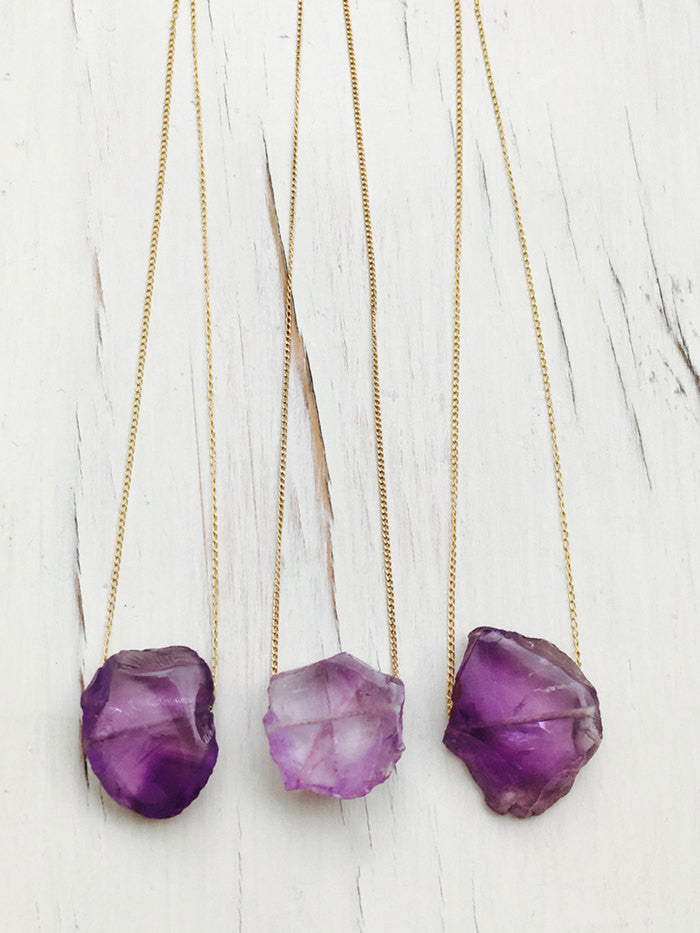 Amethyst Raw Slice Necklace