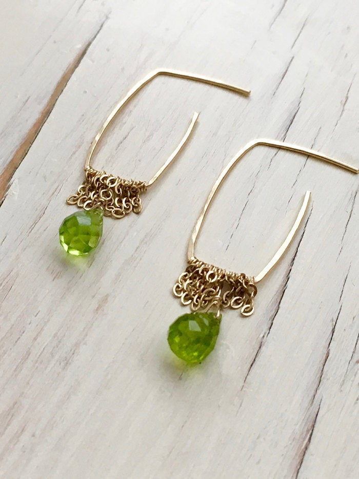 Peridot Teardrop Chain Hoops