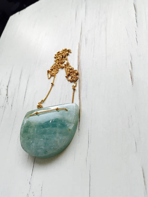 Aquamarine Geometric Pendant Necklace