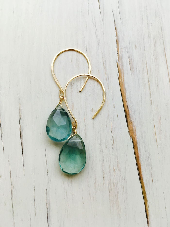 Teardrop Fluorite Dangle Earrings