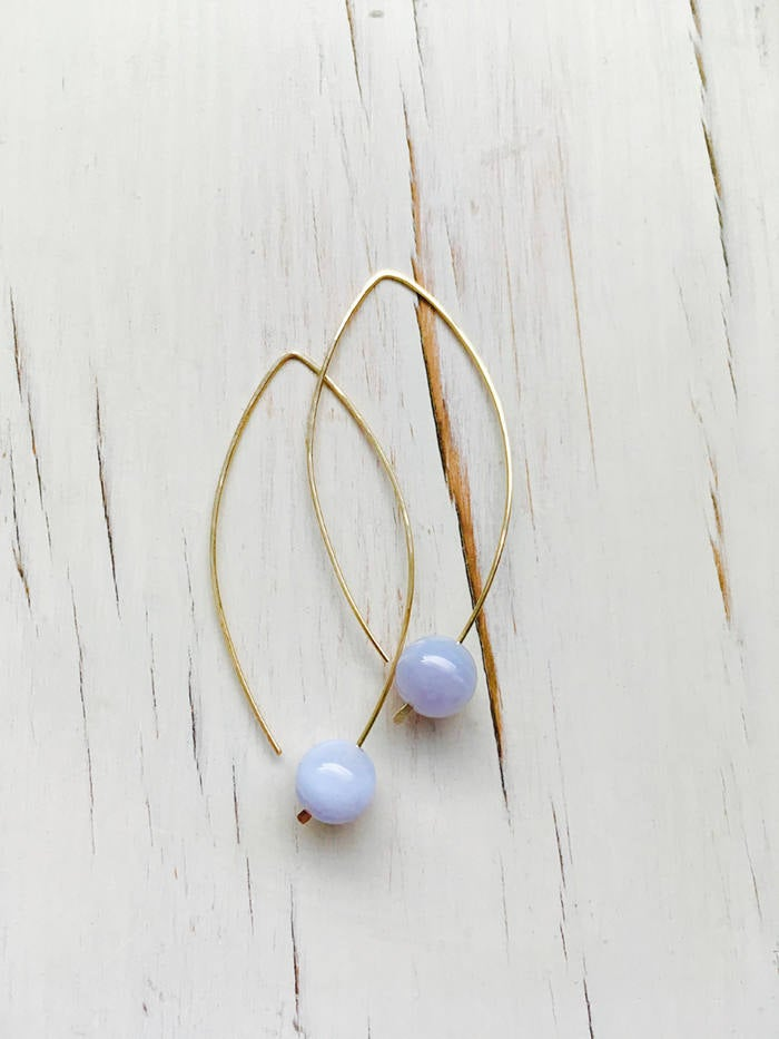 Blue Lace Agate Arc Hoops