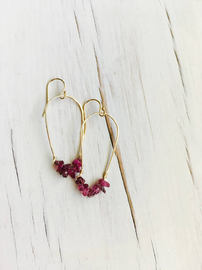 Pink Tourmaline Dangle Hoops