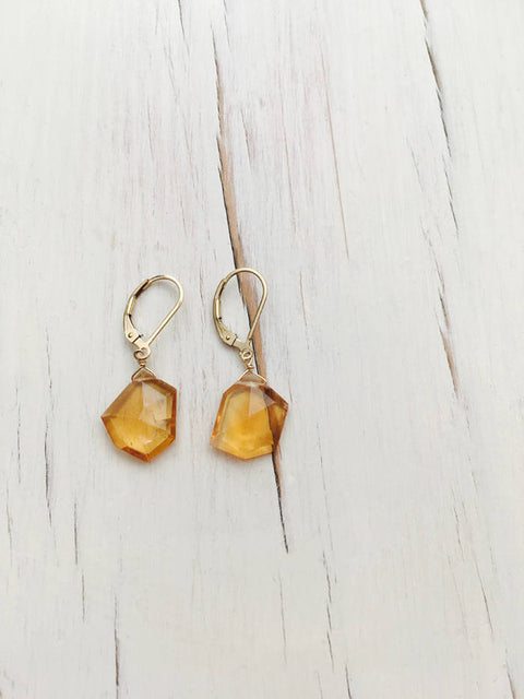 Citrine Free Form Earring