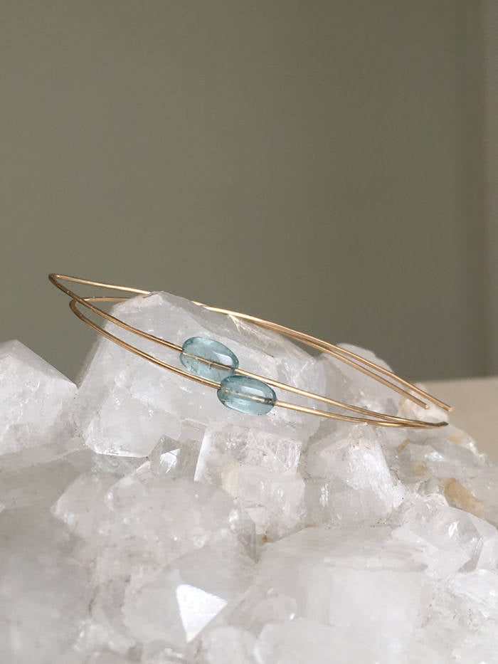 Aquamarine Tear Hoop