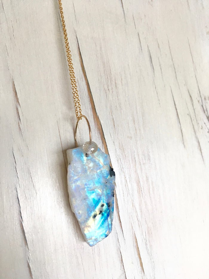 Moonstone Raw Pendant Necklace