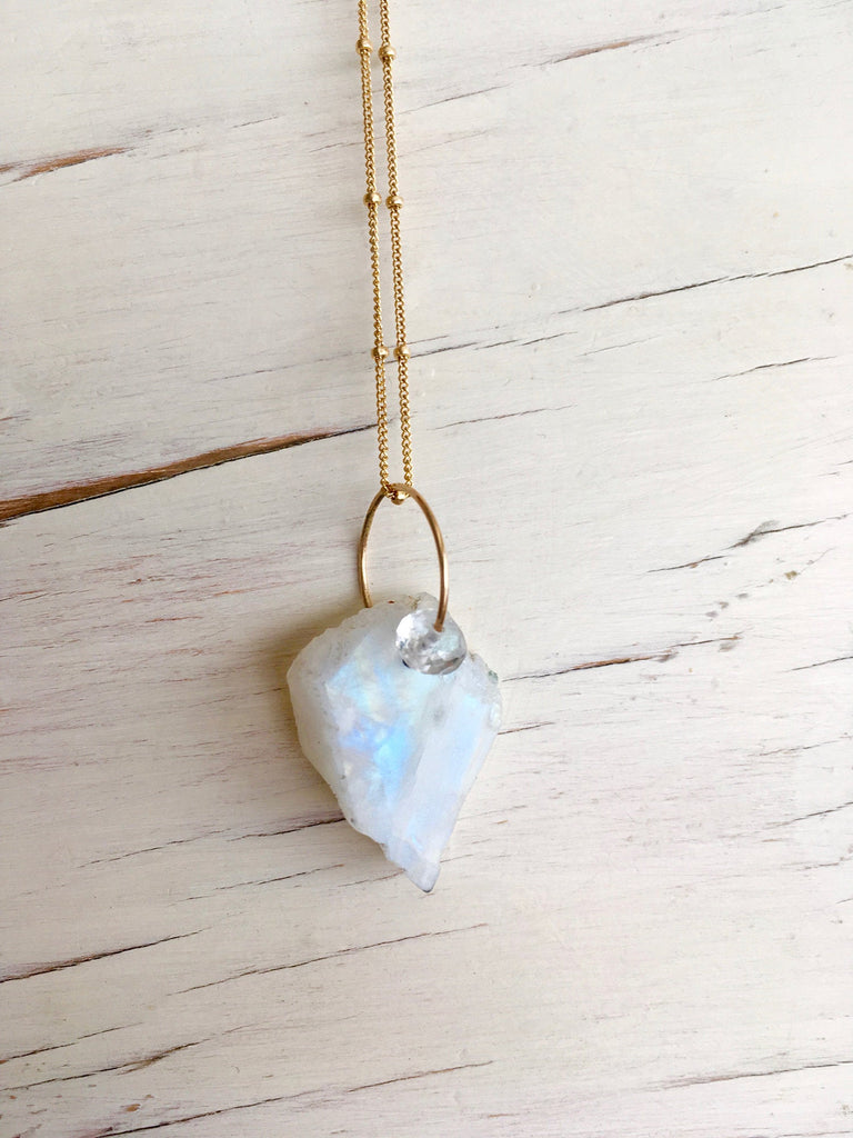 Raw Necklace Moonstone Pendant Necklace