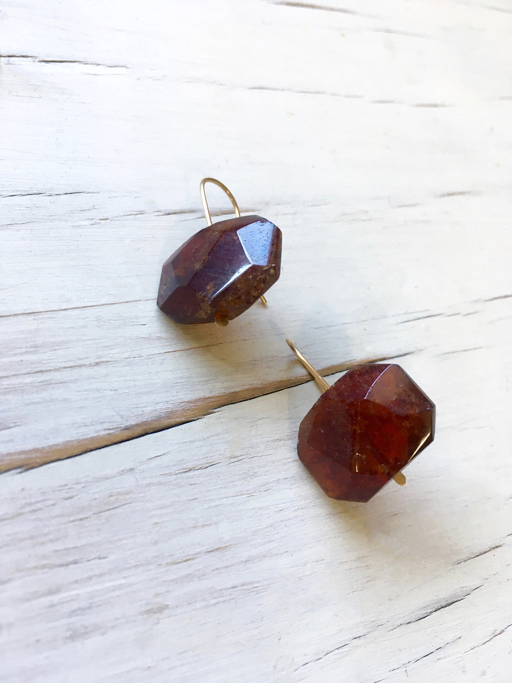Garnet Faceted Slice Earrings