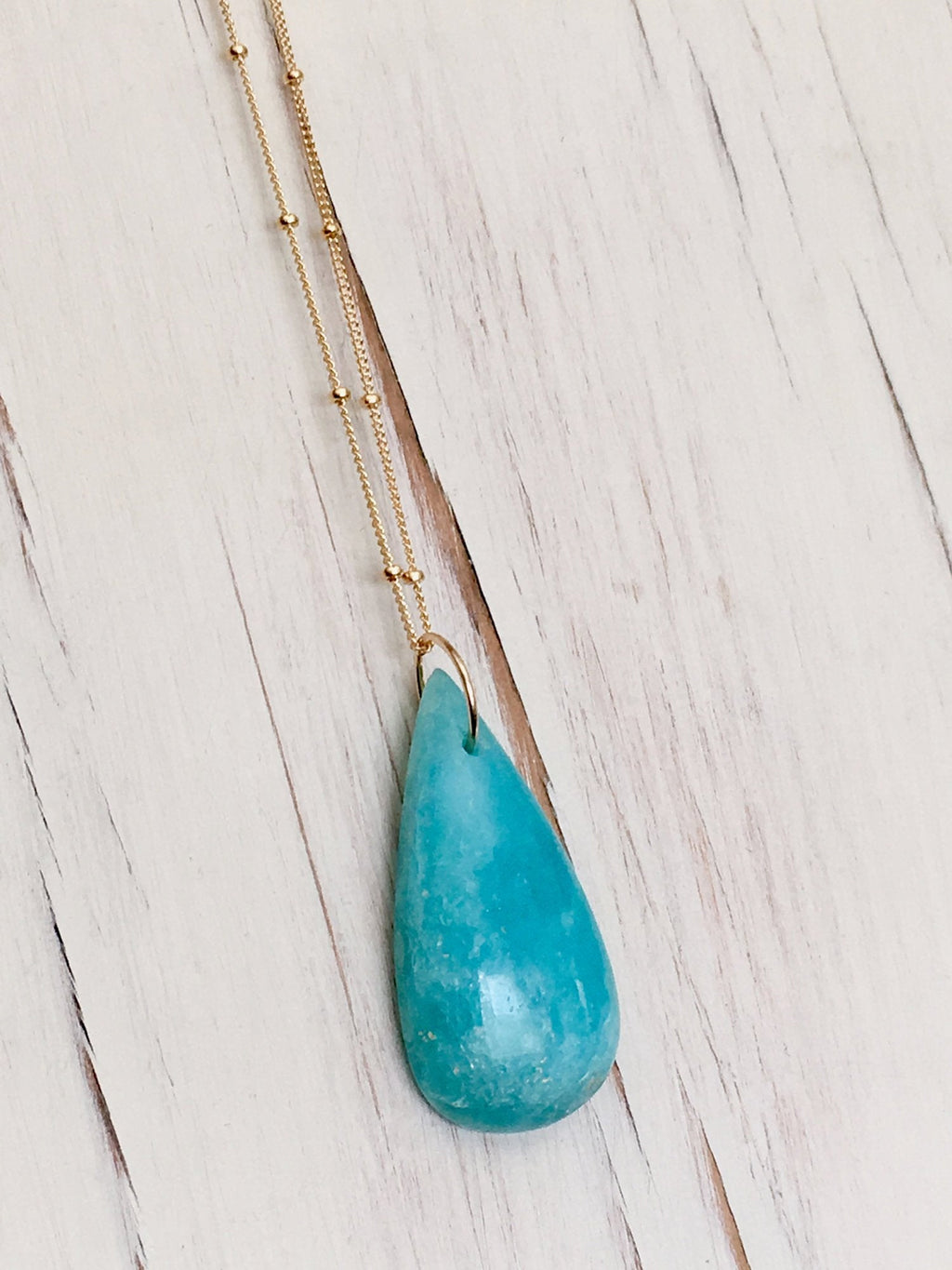 Hemimorphite Tear Pendant Necklace