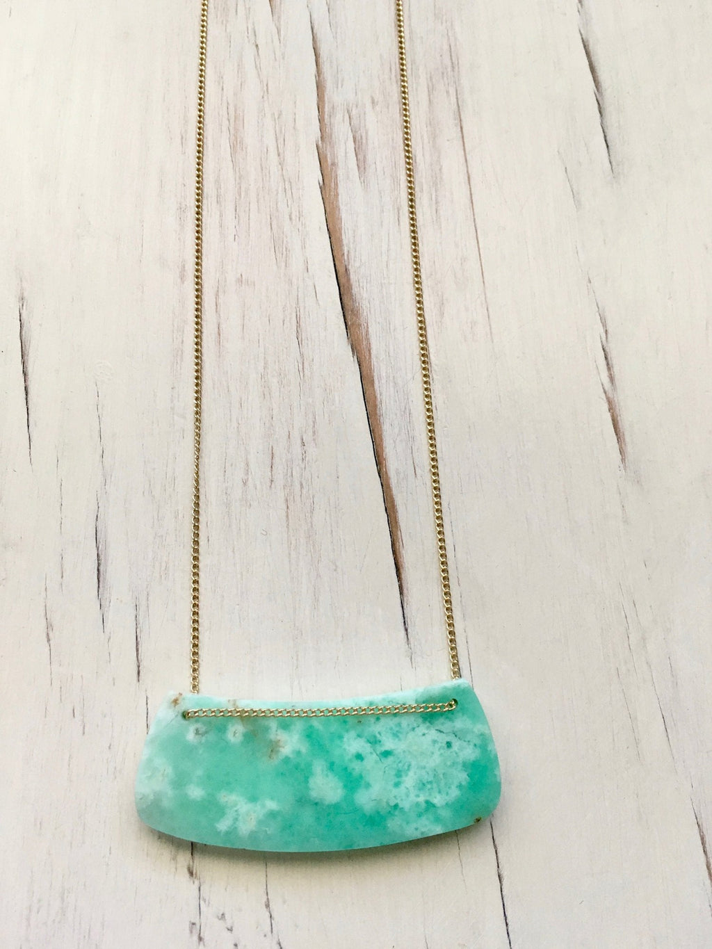 Chrysoprase Curved Bar Necklace