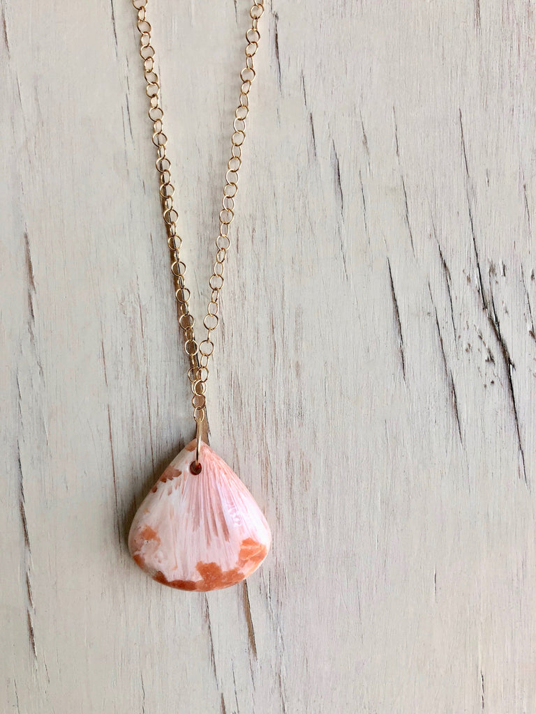 Peach Scolecite Teardrop Necklace