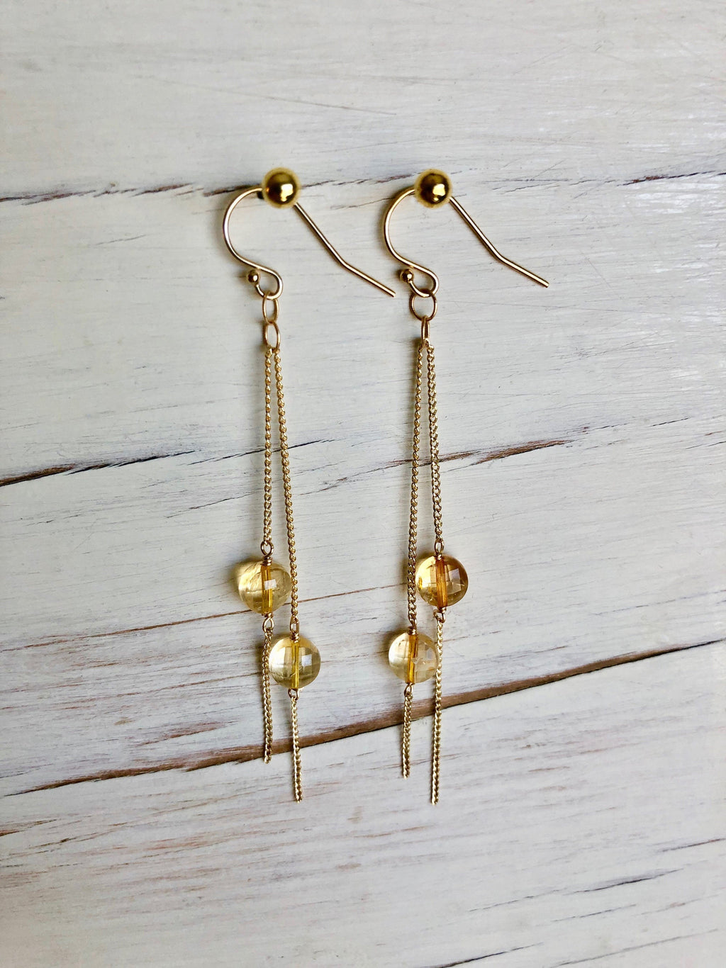 Citrine Chain Dangle Earrings