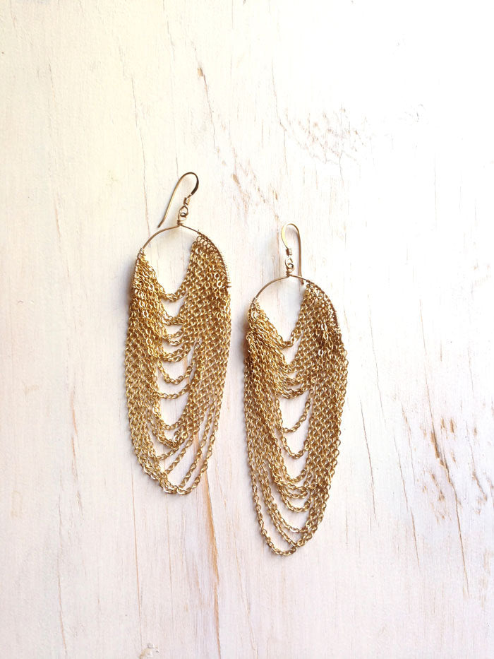 Gold Filled Chain Draped Earring