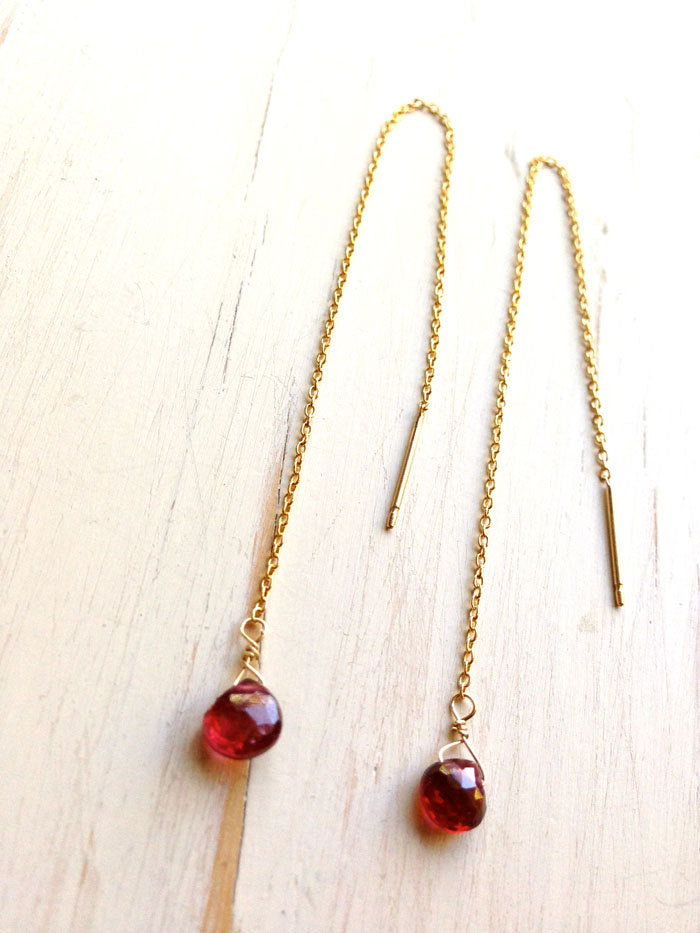 Garnet Tiny Tear Drop Chain Earrings