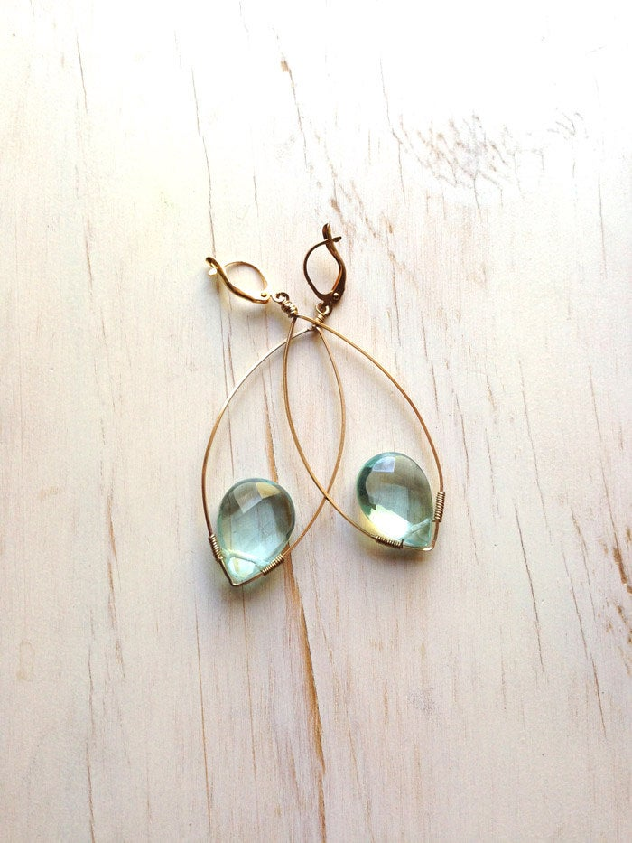 Blue Quartz Tear Dangle Hoop