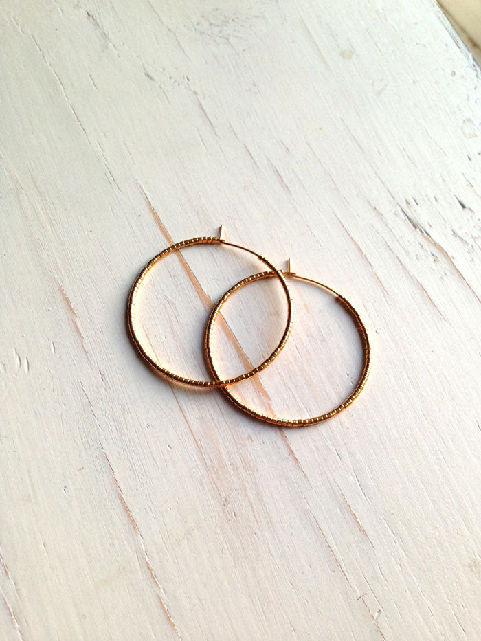 Classic Gold Metal Beaded Hoops