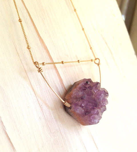Amethyst Raw Cluster Necklace