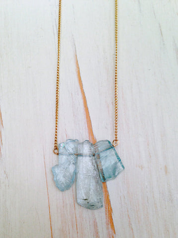 Raw Aquamarine Pendant Necklace
