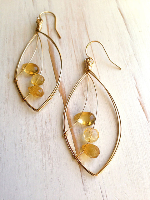 Citrine Trio Faceted Droplet Earring