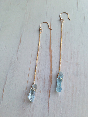Aquamarine Shard Earring