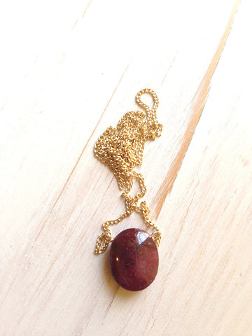 Ruby Oval Necklace