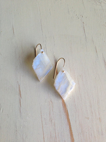 Moonstone Raw Slice Earrings