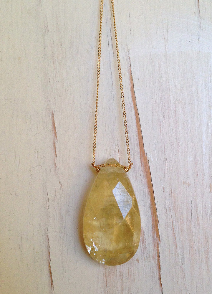 Lemon Quartz Teardrop Necklace