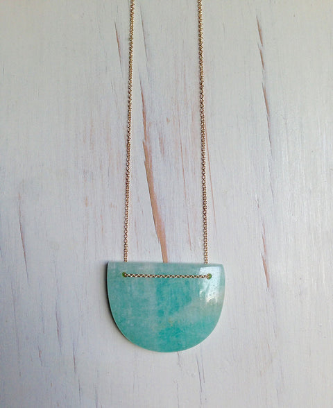 Amazonite Geometric Statement Necklace
