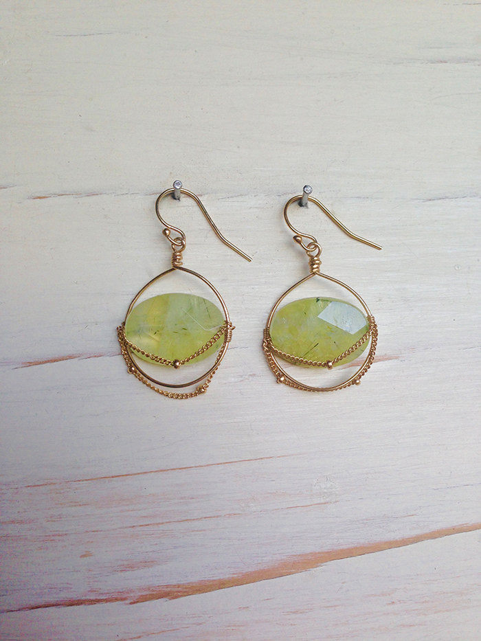 Prehnite Oval Chain Earrings