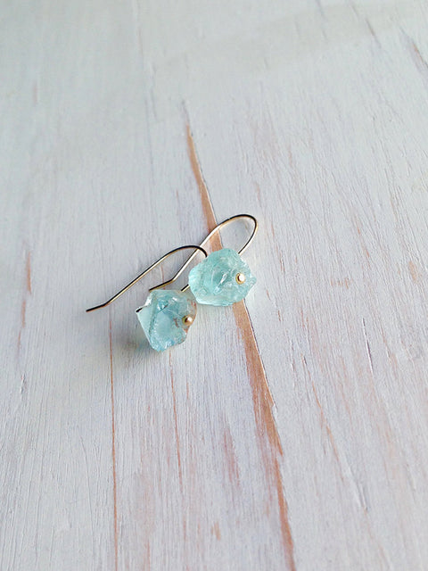 Aquamarine Raw Dangle Earrings