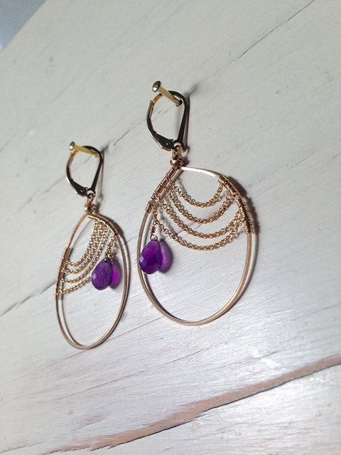 Amethyst Tiny Tear Chain Hoops