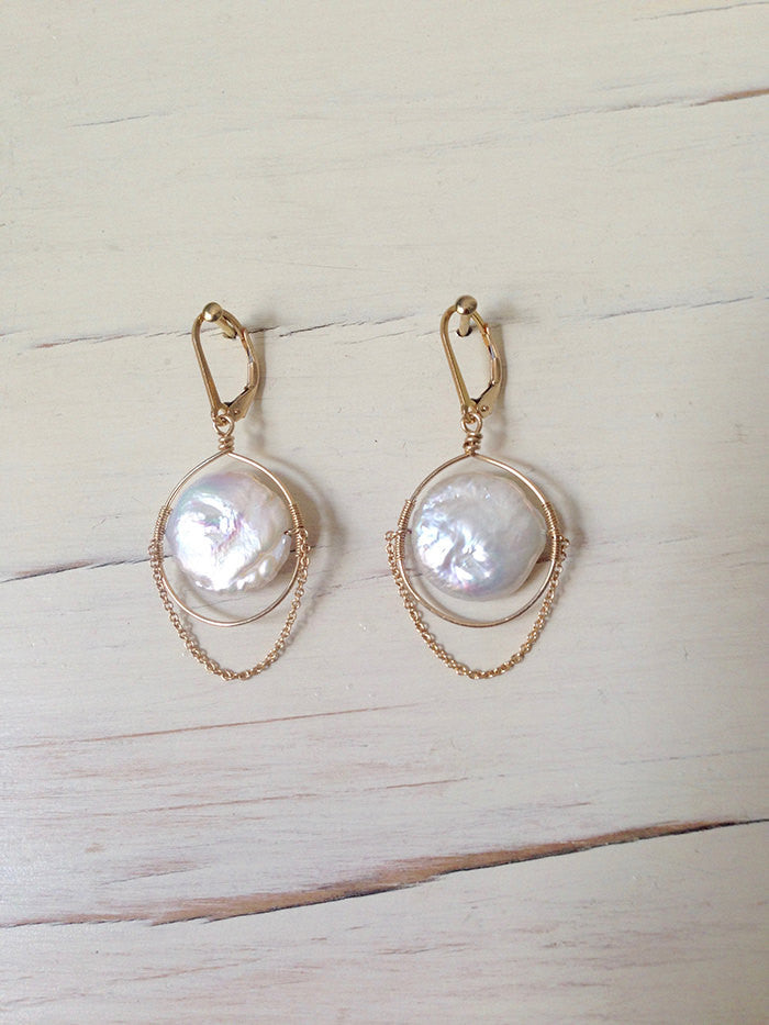 Pearl Dangle Chain Earrings