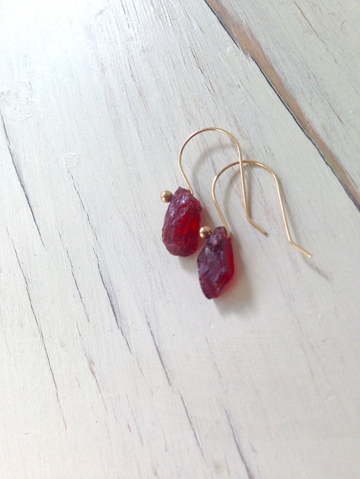 Raw Garnet Shard Earrings