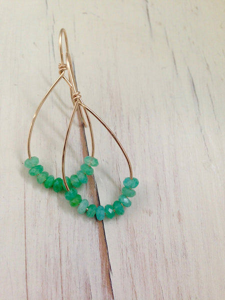 Chrysoprase Tear Earrings