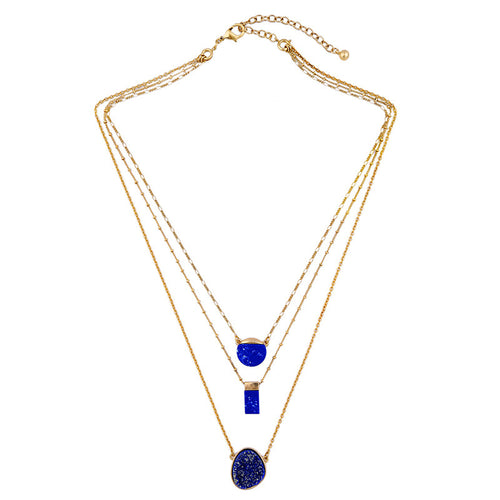 Blue Geo Layered Necklace
