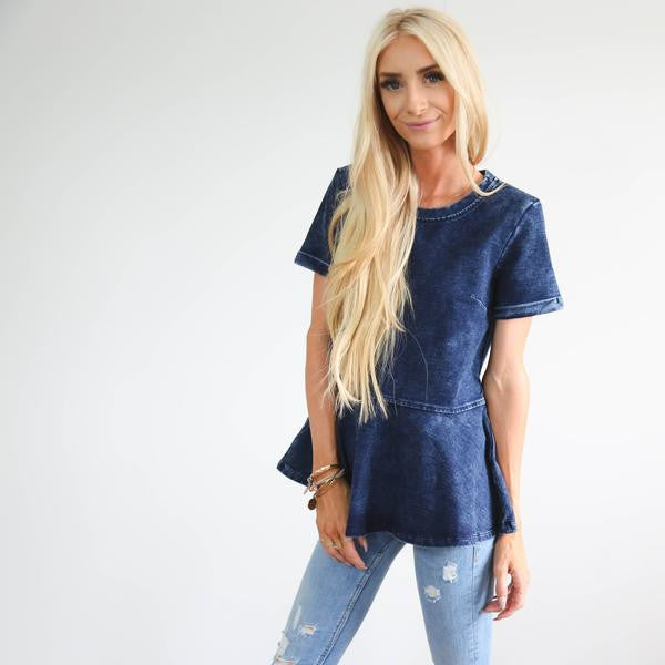 Denim Peplum Top