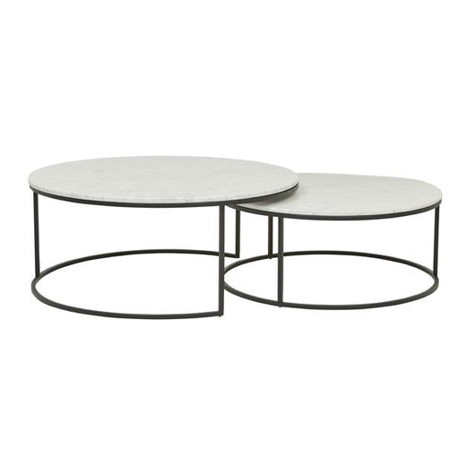 Marble Ayva Nesting Coffee Tables Set Of 2: Luxe Marble Nesting Coffee Table Set
