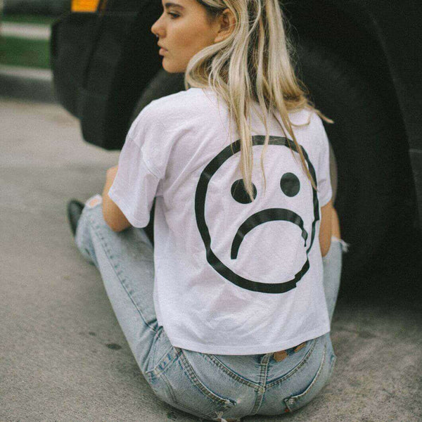 The Sad Society™ Sad Face™ White Crop Shirt