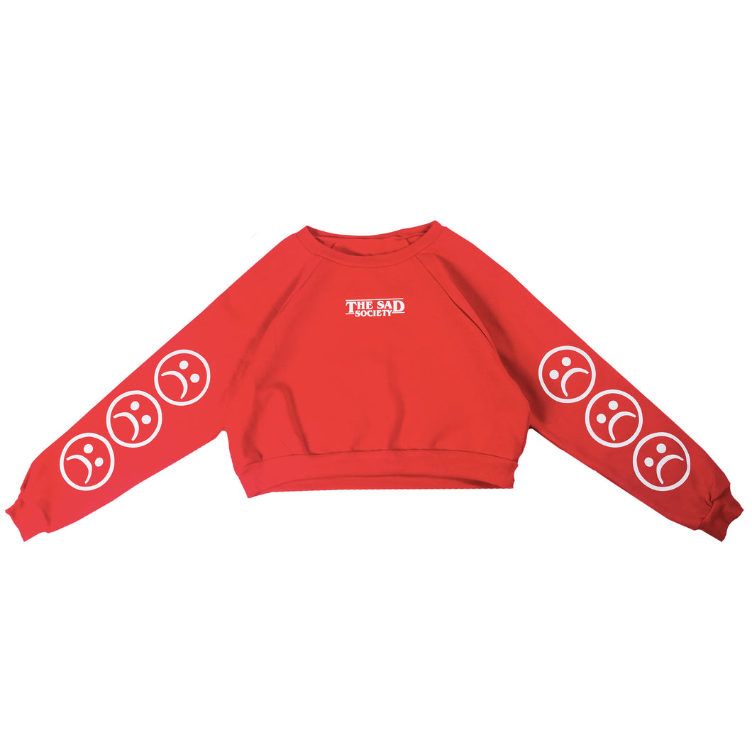 The Sad Society™ Sad Face™ RED Cropped Sweatshirt