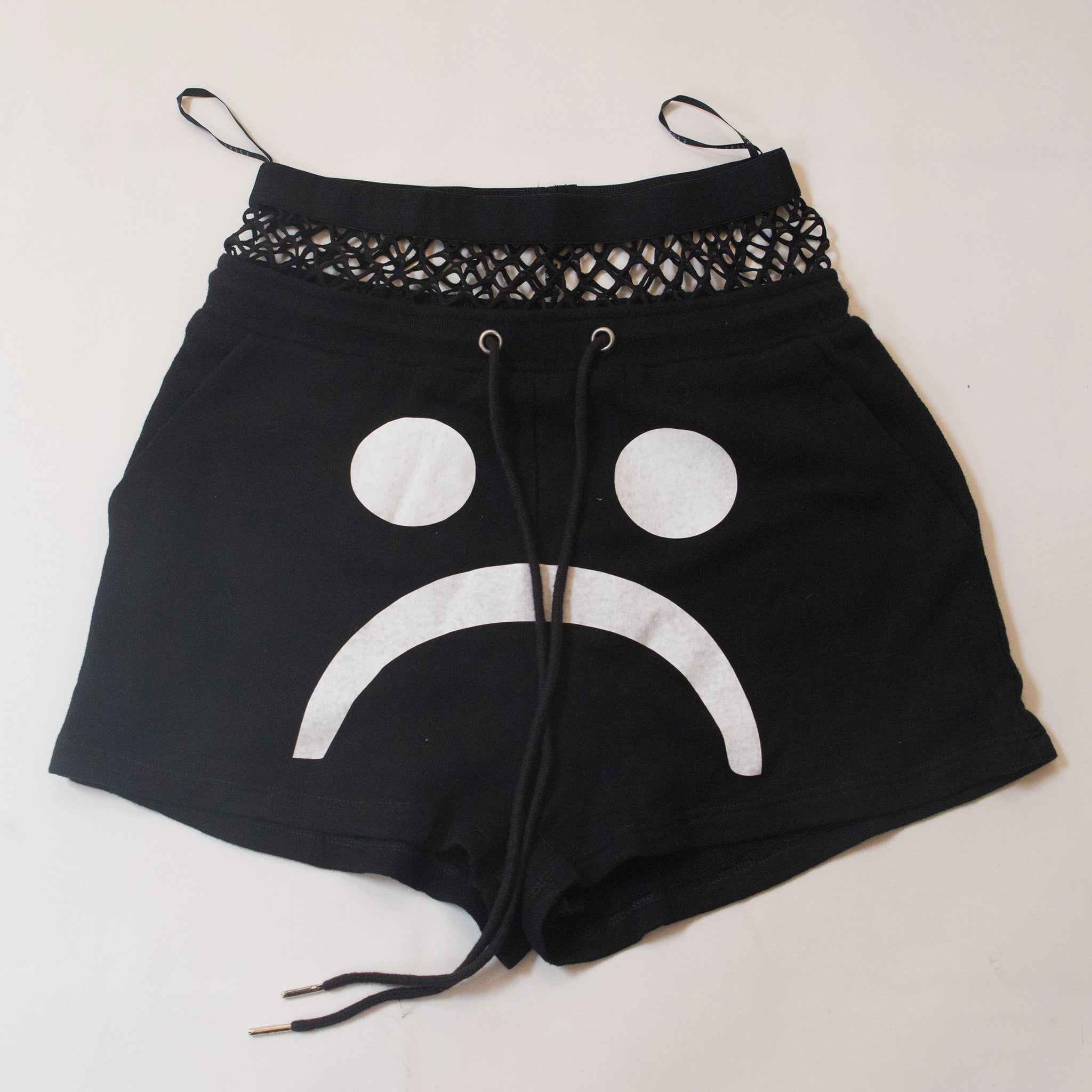 The Sad Society Sad Face Lace Crop Shorts