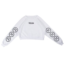 The Sad Society™ Sad Face™ White Cropped Sweatshirt