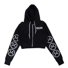 The Sad Society™ Sad Face™ Black Zip Cropped Hoodie