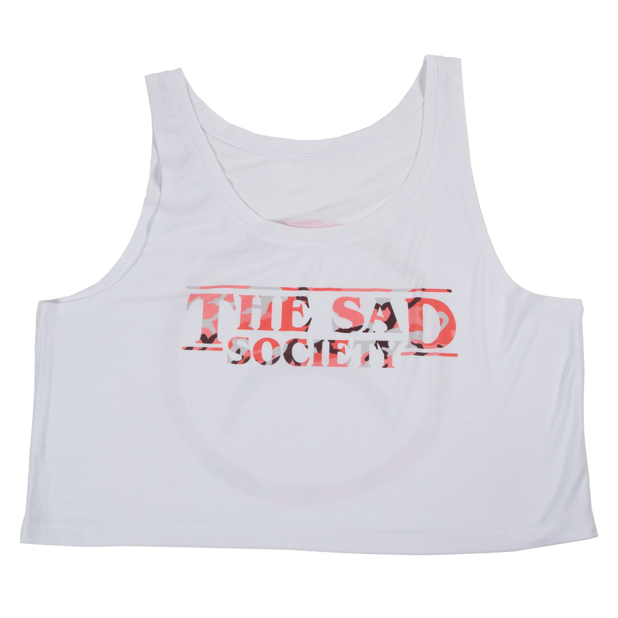 The Sad Society Logo Pink camouflage Crop Top