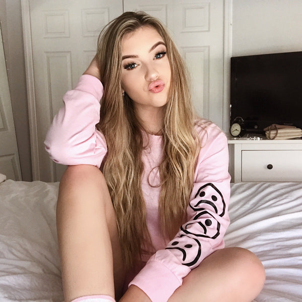 Sad Face Pink Long Sleeve T Shirt