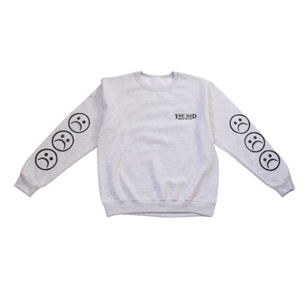 Grey Sad Face Sleeved Sweatshirt
