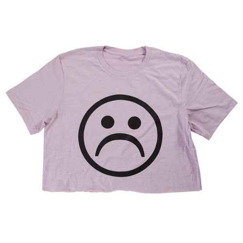 Sad Society™ Sad Face™ Creme Crop Shirt
