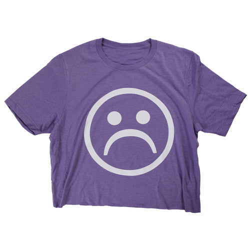 Sad Society™ Sad Face™ Purple Crop Shirt