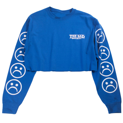 Sad Face Blue Crop Long Sleeve T Shirt